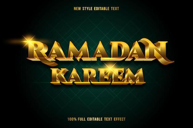 Bearbeitbarer texteffekt ramadan kareem farbe gold