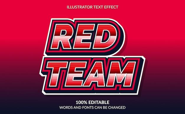 Bearbeitbarer texteffekt, roter teamtextstil für esport