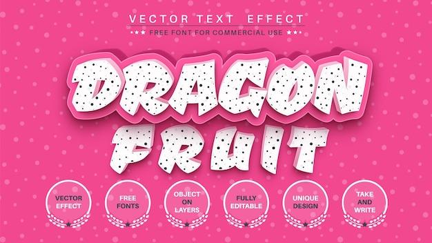 Bearbeitbarer texteffekt-schriftstil der drachenfrucht