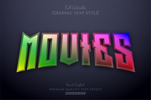 Bearbeitbarer texteffekt-schriftstil für filme mit farbverlauf