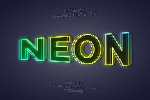 Bearbeitbarer texteffekt-schriftstil mit neonverlauf 3d