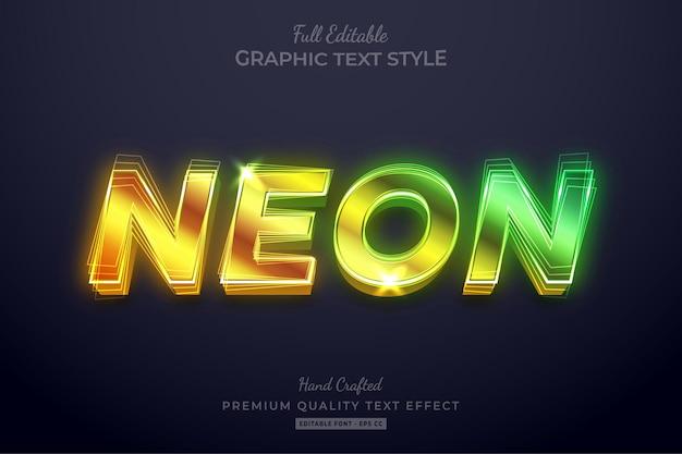 Bearbeitbarer texteffekt-schriftstil mit neonverlauf
