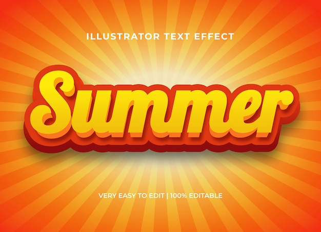 Bearbeitbarer texteffekt, sommer glänzender comic-3d-textstil Premium Vektoren