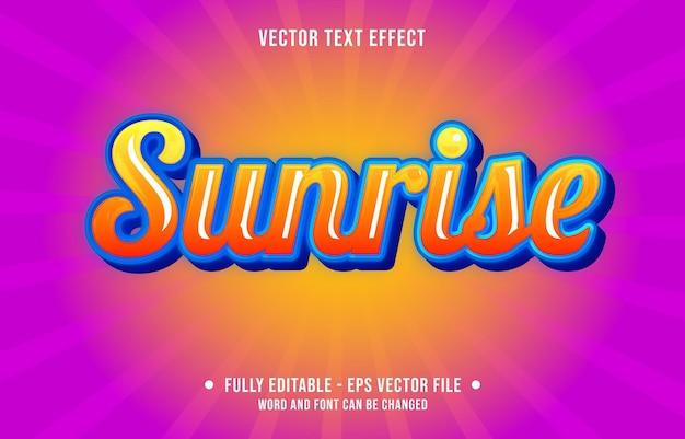 Bearbeitbarer texteffekt sonnenaufgang farbverlauf orange blau farbe künstlerischen stil