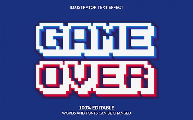 Bearbeitbarer texteffekt, spiel über pixeligem textstil