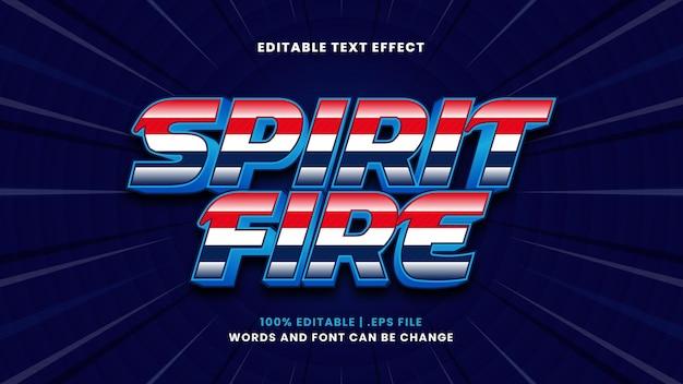Bearbeitbarer texteffekt spirit fire im modernen 3d-stil