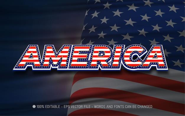 Bearbeitbarer texteffekt stil der amerikanischen flagge