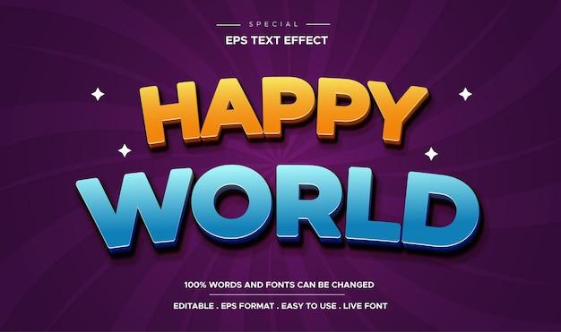 Bearbeitbarer texteffekt, stil der glücklichen welt