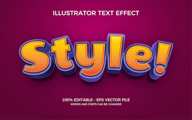 Bearbeitbarer texteffekt, stilstilillustrationen