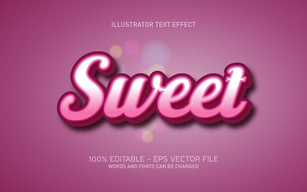 Bearbeitbarer texteffekt, süße coole stilillustrationen