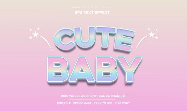 Bearbeitbarer texteffekt süßer babystil