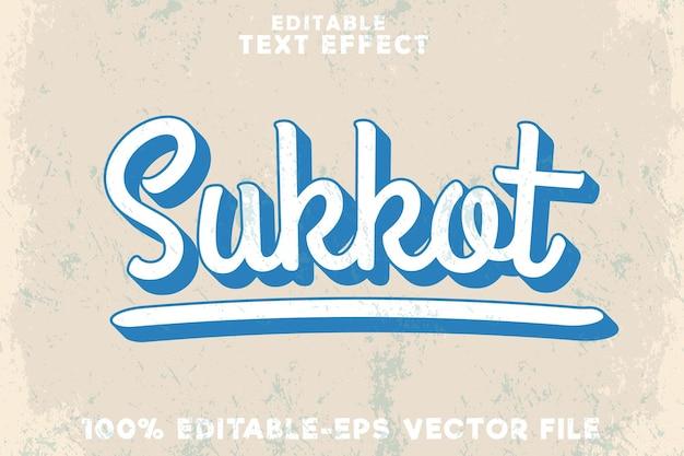 Bearbeitbarer texteffekt sukkot im klassischen vintage-stil