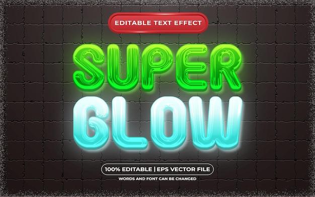 Bearbeitbarer texteffekt-super-glühen-vorlagenstil