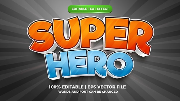 Bearbeitbarer texteffekt - superhelden-cartoon-stil 3d-vorlage