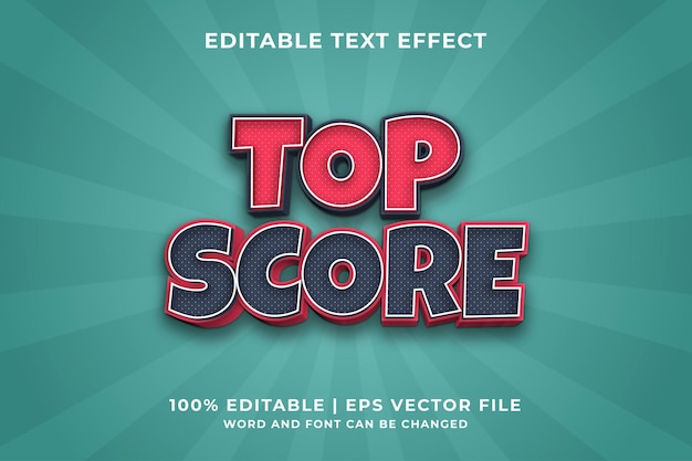 Bearbeitbarer texteffekt - top-score-stilvorlage premium-vektor