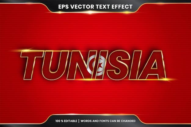 Bearbeitbarer texteffekt - tunesien mit seiner nationalflagge