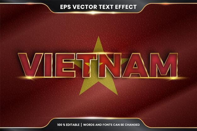 Bearbeitbarer texteffekt - vietnam mit seiner nationalflagge