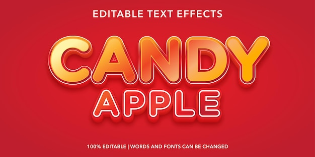 Bearbeitbarer texteffekt von candy apple