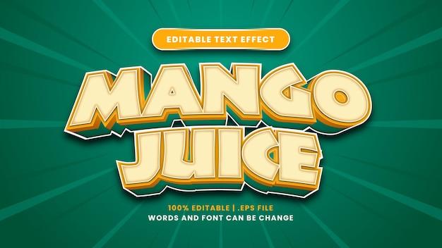 Bearbeitbarer texteffekt von mangosaft im modernen 3d-stil