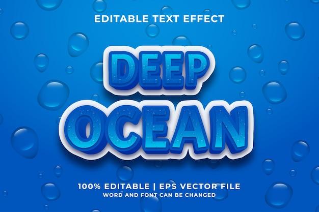 Bearbeitbarer texteffekt - vorlage im karikaturstil 3d der tiefen ozean premium-vektoren