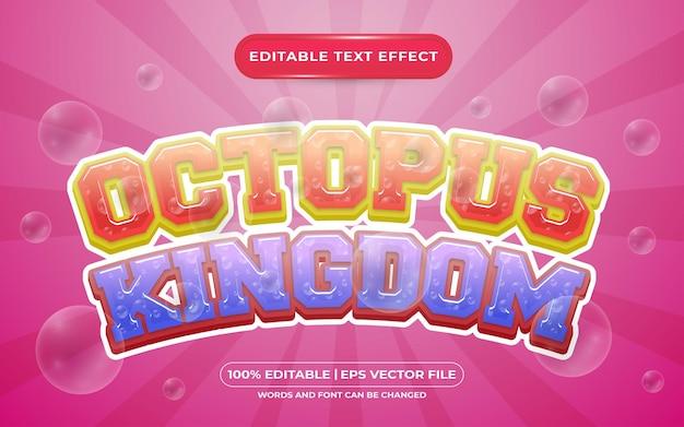 Bearbeitbarer texteffekt-vorlagenstil des oktopus-königreichs