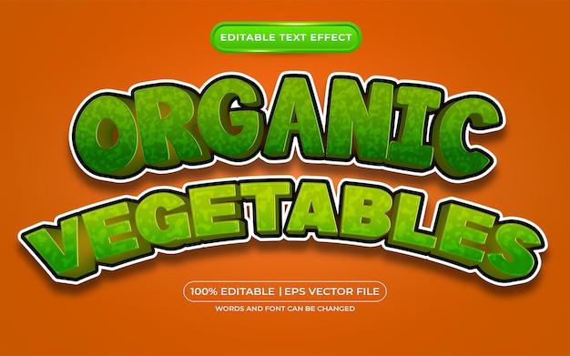 Bearbeitbarer texteffekt-vorlagenstil für bio-gemüse