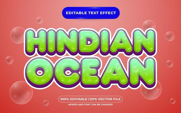 Bearbeitbarer texteffekt-vorlagenstil für den indischen ozean
