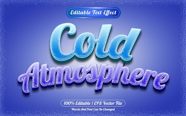 Bearbeitbarer texteffekt-vorlagenstil für kalte atmosphäre
