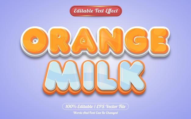Bearbeitbarer texteffekt-vorlagenstil für orangefarbene milch