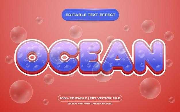 Bearbeitbarer texteffekt-vorlagenstil für ozean