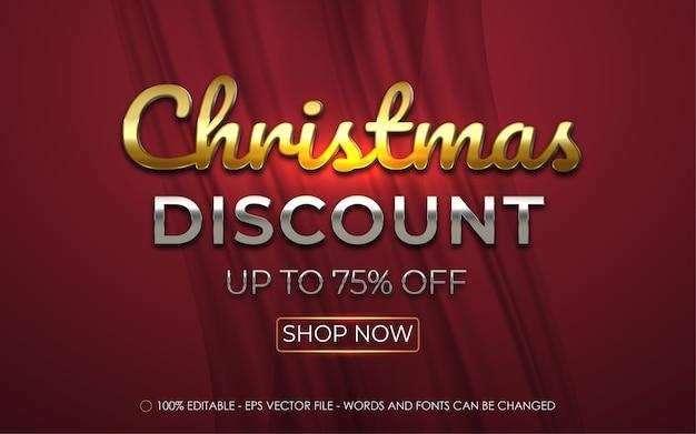 Bearbeitbarer texteffekt, weihnachtsrabatt-banner