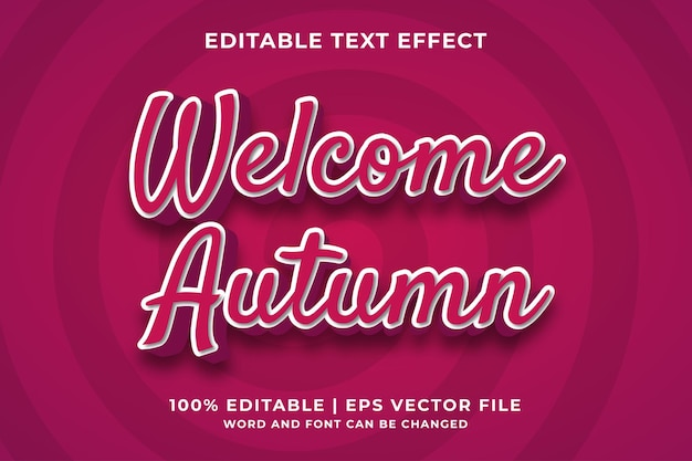 Bearbeitbarer texteffekt - willkommener herbst 3d-vorlagenstil premium-vektor