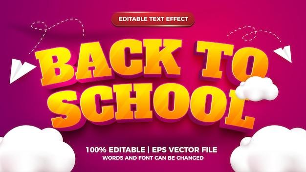 Bearbeitbarer texteffekt - zurück zur schule cartoon-stil 3d-vorlage mit süßer wolke