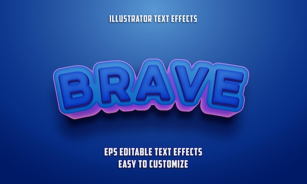 Bearbeitbarer texteffektstil auf blaue und rosa farbe