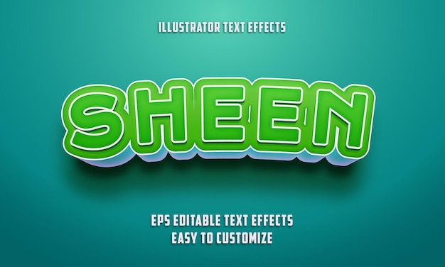 Bearbeitbarer texteffektstil auf grün und himmelblau