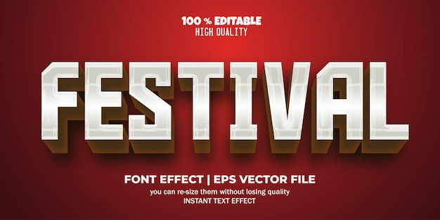Bearbeitbarer texteffektstil für festivals