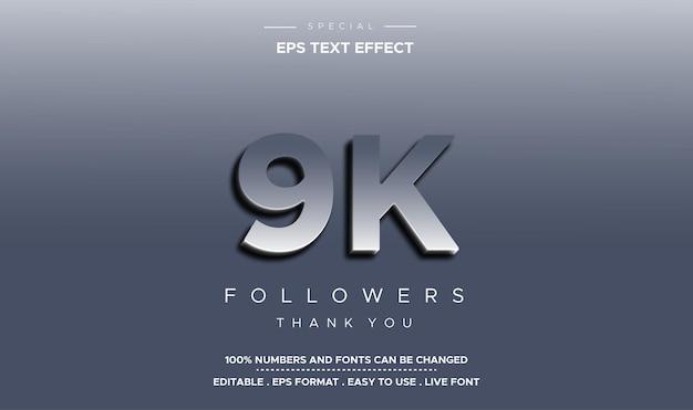 Bearbeitbarer textstil 9k follower-zahleneffekt