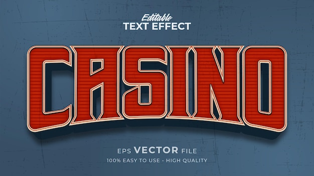 Bearbeitbarer textstil-effekt - casino retro-textstil-thema