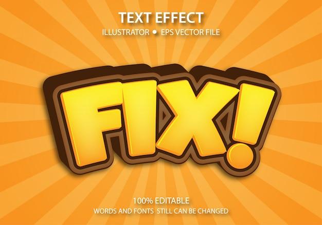 Bearbeitbarer textstil-effekt cute fix premium