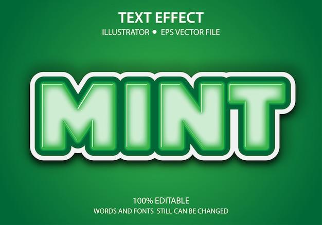 Bearbeitbarer textstil-effekt cute mint