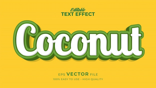 Bearbeitbarer textstil-effekt - frisches kokosnuss-textstil-thema
