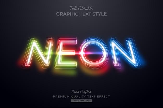 Bearbeitbarer textstil-effekt mit farbverlauf neon