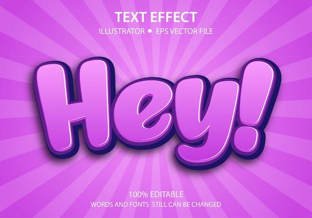 Bearbeitbarer textstil-effekt niedlich hey premium