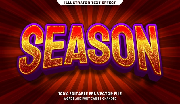 Bearbeitbarer textstileffekt der saison 3d