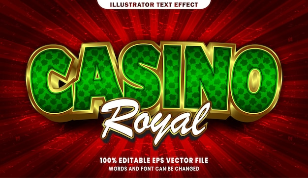 Bearbeitbarer textstileffekt des kasinos royal 3d