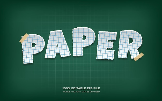 Bearbeitbarer textstileffekt für papierschnitt