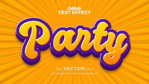 Bearbeitbarer textstileffekt - retro party textstil-thema