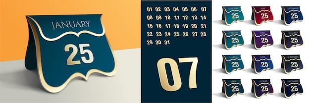 Bearbeitbarer tischkalender mit allen details