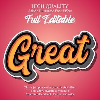 Bearbeitbarer typografie-gusseffekt der modernen skriptaufkleber