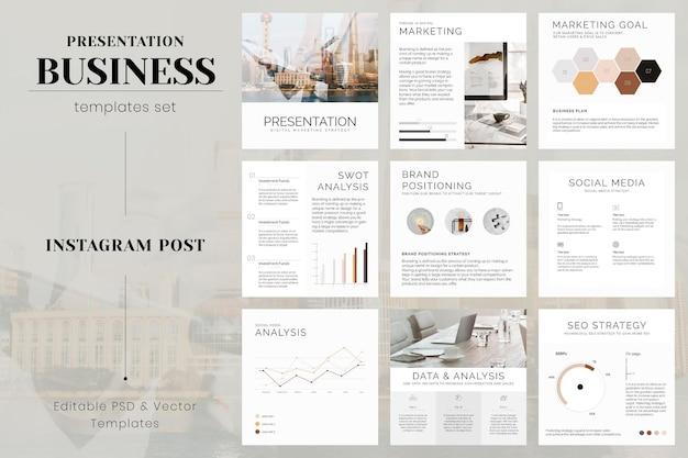 Bearbeitbarer vorlagensatz für social-media-marketing-post-vektoren
